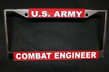 Military License Plate Frame-U.S. Army  Combat Engineer #811150--Chromed Metal