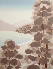 "Kamy ""Hickory Lake"" Hand Signed & Numbered Serigraph Art landscape lake & trees"