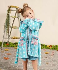 Matilda Jane SILVER PIECES Robe SMALL 4 6 Girls Blue Dot Plush Hooded NWT