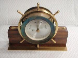 VINTAGE SETH THOMAS HELMSMAN E537-011 1508 WEATHER BAROMETER WOOD BASE 1602