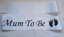 "WHITE Satin ""MUM TO BE"" Baby Shower Sash Favour Decoration With Baby's Feet"