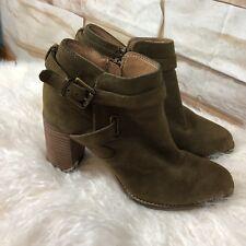 Franco Sarto Women Size 6M Orena Ankle Boots Bootie Stacked Heel Straps Zipper