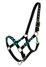 Showman BLACK & TEAL Braided Nylon Adjustable Horse Halter!!! NEW HORSE TACK!!!