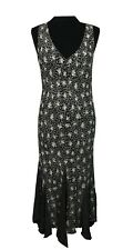 PER UNA Dress Size 12R Cream Black Floral L49in Party Evening Wedding Office *