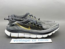 Women's VTG Nike Free 5.0 V2 Dark Grey Black Gold Running Shoes 2007 sz 8.5