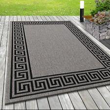 Indoor & Outdoor Teppich,Määnder Muster Sisal Optik, GRAU