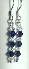 Sterling Silver and Swarovski Crystal 23mm Drop Earrings Purple Velvet