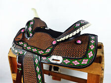 """16"""" RAWHIDE NAVAJO TOOLED LEATHER BARREL RACING HORSE TRAIL WESTERN SHOW SADDLE"""