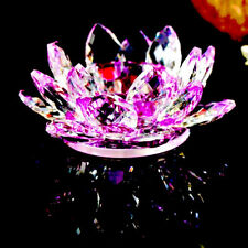 Lotus Tea Light Candle Holder Purple Colour Crystal Glass Flower Rotating Base S