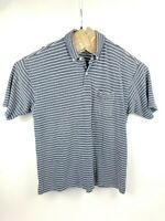 Tommy Hilfiger Men's LG Short Sleeve Golf Polo Shirt, Blue Striped - Free Ship