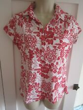 Ladies size 18 M&Co white with raspberry red floral summer top short sleeves