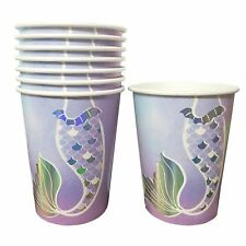 Mermaid Party Cups 8pk 266ml Iridescent Foil Print - Mermaid Tail Party Supplies