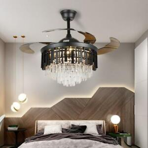 "42""Invisible Blade LED Ceiling Fan Light Lamp Luxury Crystal Chandelier w/Remote"