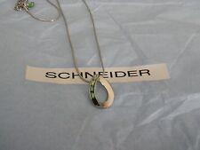 lia sophia green crystal open teardrop silver necklace RV $49 FREE shipping