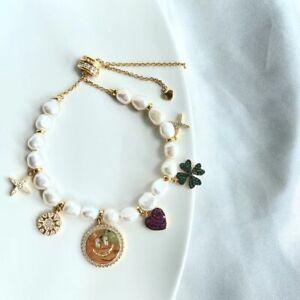 Auth apm monaco UN APRES MIDI A LA PLAGE Lucky Charm Adjustable Pearl Bracelet