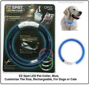 EZ Spot LED Pet Collar, Blue, Customize The Size, Rechargeable, For Dogs or Cats