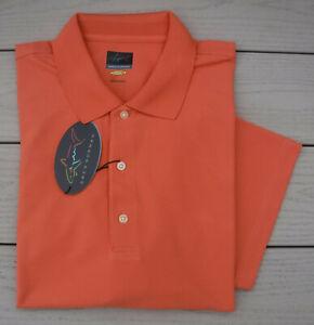 NWT GREG NORMAN PlayDry Protek Micro Pique Mens Golf Shirt-XL Ret@$45 ORANGE