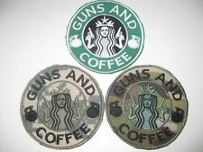 GUNS AND COFFEE MORALE FUN AUFNÄHER PATCH AIRSOFT PAINTBALL MILITARY MIT KLETT