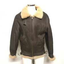 Shakespeare Lambskin Products Jacket Size 38 Collared Aviator Style Brown 424127