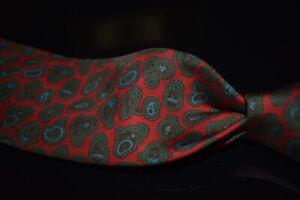 Vintage Robert Talbott English Silk Ancient Madder Red Green Leaf Paisley Tie NR