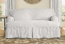 Sure Fit white Matelasse Damask One Piece Slipcovers t-Cushion SOFA