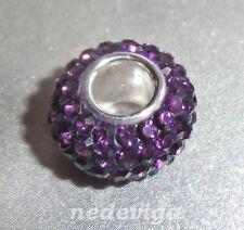 925 Sterling Silber Bead Charm Anhänger Glitzer Strass lila violett + Etui