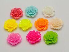 20 Mixed Color Rose Flower Flatback Resin Cabochon 20mm DIY