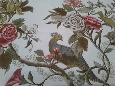 """GP & J Baker vintage birds fabric lined curtains 74""""d x 64"""" w & 2 cushion cover"""