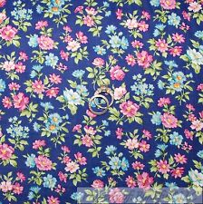 BonEful FABRIC FQ Cotton Quilt Blue Pink Green Leaf Flower Spring Country Small