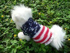 XXS USA Flag Handmade knit Dog sweater