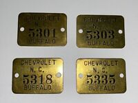 Vintage Original Chevrolet Tool Or Factory Brass Tags; Qty 4, Lot # 6