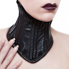 Neck Corset From Calf Nappa Leather With Steel Rods / Leather Posture Collar