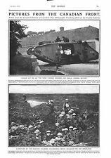 1917 ANTIQUE PRINT - WW1- PICTURES FROM THE CANADIAN FRONT-TANK