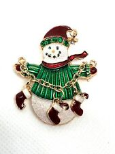 SNOWMAN christmas playing fashion brooch  jewelry gold tone prize fun gift #14