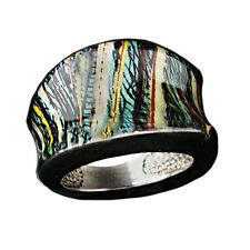 Ladies Multi Colored Print Stripe Pattern Enamel and Sterling Silver Ring