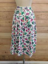 L22-10 Womans Vtg 90s White Cottage Floral Chic Hippie Casual Cotton Skirt Small