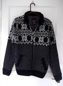 Mens Christmas Jacket Jumper Cardi Size L Black & White Nordic design Good BB1