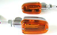 Polished Aluminum Amber Lens Turn Signals Mini Stalk Short 3 Wire Universal Fit