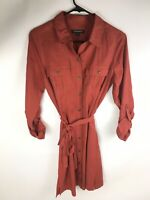 Banana Republic Womens Size 4 Long Sleeve Button Down Front Dress Burnt Orange