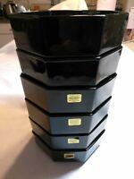 "Arcoroc Octagon Black Cereal Soup Bowls 5.5"" Set of 6 France"