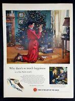 1952 Swiss Watch Christmas Vintage Magazine Print Ad