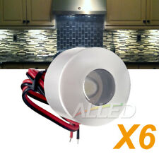 6X12V 350mA 1W LED Cylindrical Under Cabinet Dome Light Cool White Kitchen Lamp