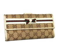 GUCCI GG Logo Beige Brown Canvas Leather Long Wallet Women's Purse Italy 2184