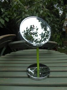Round Table Makeup/shave Mirror on Stand Chrome/Green VGC see other stuff 4 uni