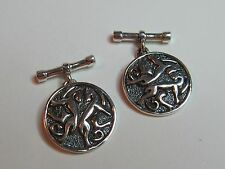 CELTIC HORSES ROUND STERLING SILVER  CUFF LINKS  - NEW