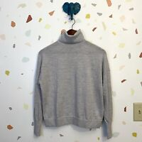 J Crew Small 100% Merino Wool Light Gray Turtleneck Pullover Long Sleeve Sweater