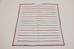 NWT Brunello Cucinelli Mens 2-Tone Striped + Polka Dot Print Pocket Square  A201