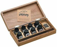 More details for winsor & newton calligraphy wooden box set inks dip pen nibs artist drawing
