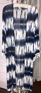 NEW Plus Size 3X Blue Black Open Duster Kimono Jacket Tie Dye Topper