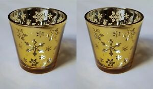 Yankee Candle Set of Two Christmas Design Snowflake Votive Holders in Gold